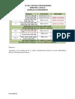 Assignment Schedule - Sem 2, 1314