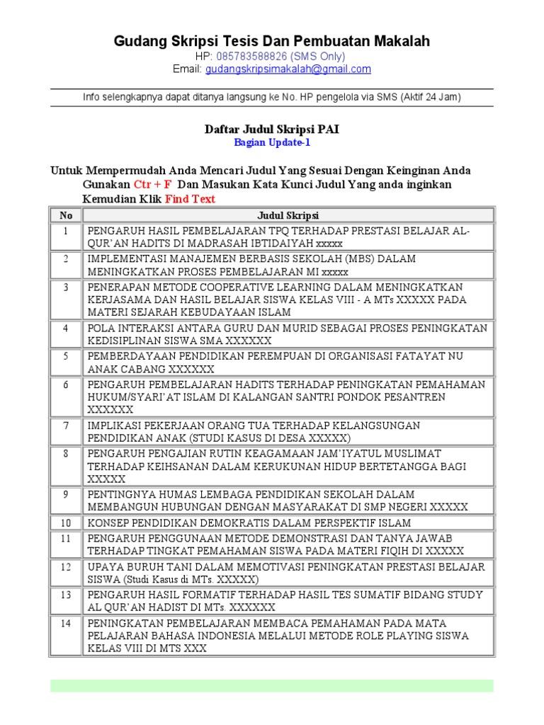 Contoh Judul Skripsi Pai Kajian Pustaka Kumpulan Berbagai Skripsi