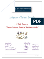"""Assignment of Business Research A Study Report on """" Consumer Behavior on Branded and Non Branded Jewelry"""""""