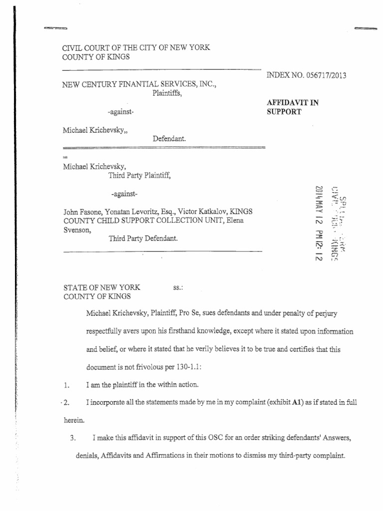 AFFIDAVIT IN SUPPORT OF ORDER TO SHOW CAUSE TO STRIKE | Lawsuit ...