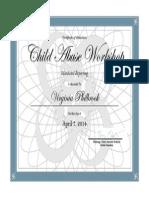 PHILBROOK Child Abuse Workshop Certificate