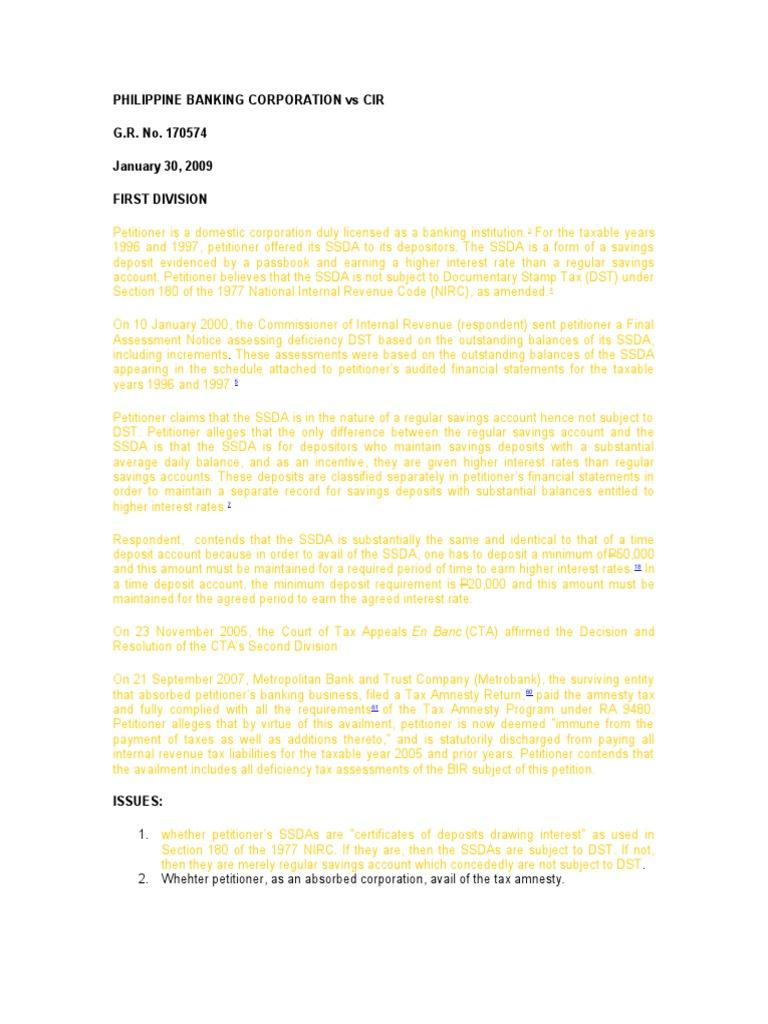 3 Phil Banking Corp Vs Cir Cd Certificate Of Deposit Deposit