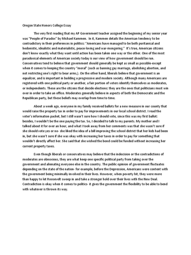 oregon state honors college essay | Voting | Liberalism