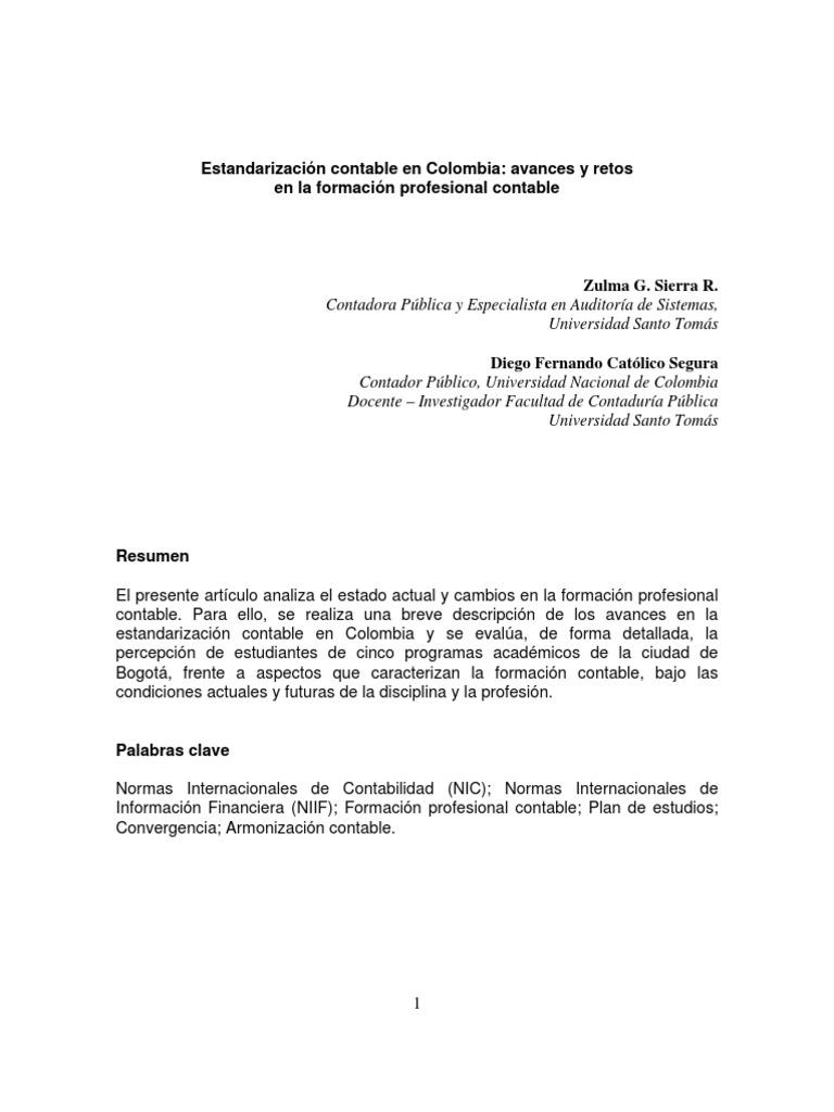 Estandarizacion Contable en Colombia
