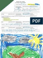 Levi's 1st grade progress report and artwork by Levi, Eva, and Zoe