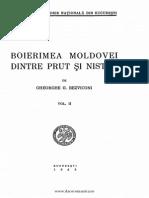 Boierimea Moldovei Dintre Prut Şi Nistru Volumul 2 Gheorghe Bezviconi