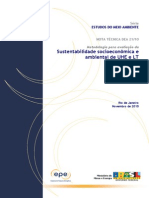 NT - Sustentabilidade Socioeconômica e Ambiental de UHE e LT - PDE 2020