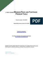 Fairtrade Minimum Price and Premium Table