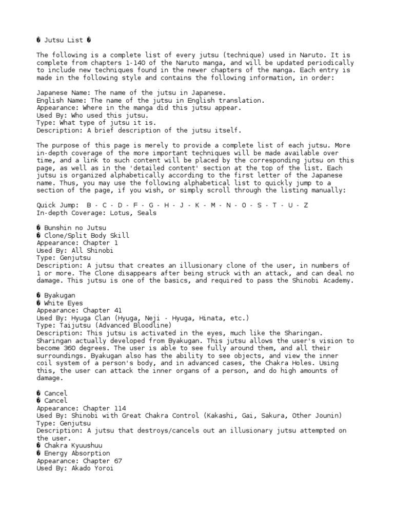 zona naruto: Naruto Jutsu List