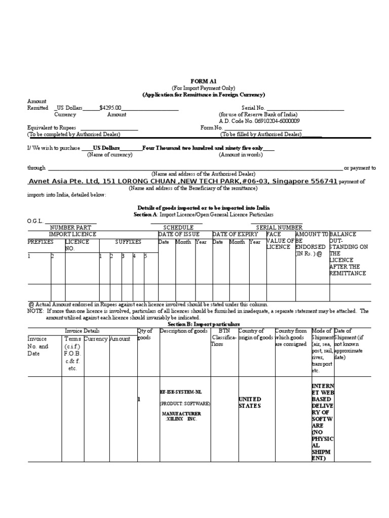 Forex remittance form