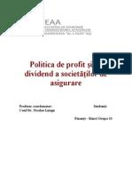 Politica de Profit Si de Dividend a Societatilor de Asigurare