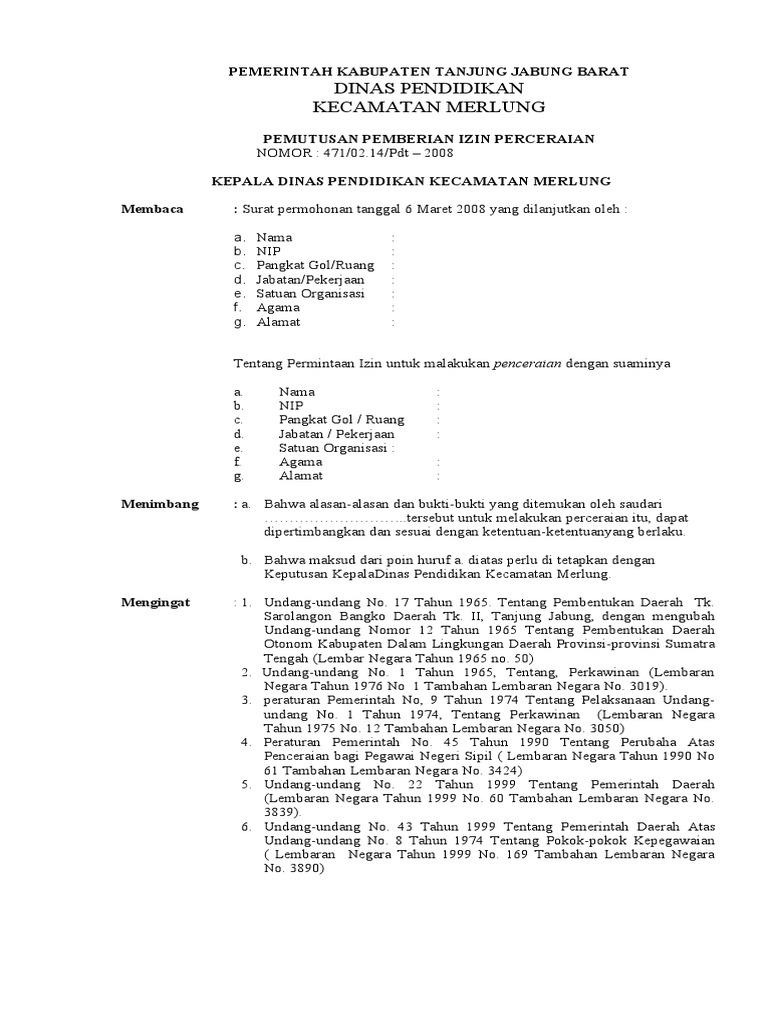 Contoh Surat Keterangan Cerai Dari Kepala Sekolah Kumpulan