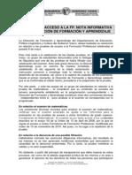 PRUEBAS DE ACCESO A LA FP. (NOTA INFORMATIVA DE LA DIRECCIÓN DE FORMACIÓN Y APRENDIZAJE)