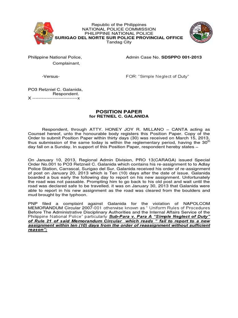 Position paper 1 admin complaint sample spiritdancerdesigns Gallery