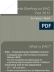 Students Briefing on EAC Visit 2013