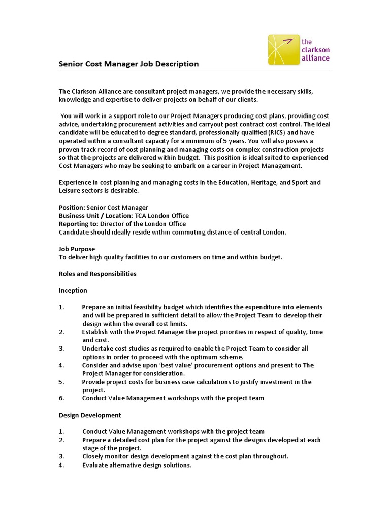Job Description Construction Cost Manager | Consultant | Project Manager