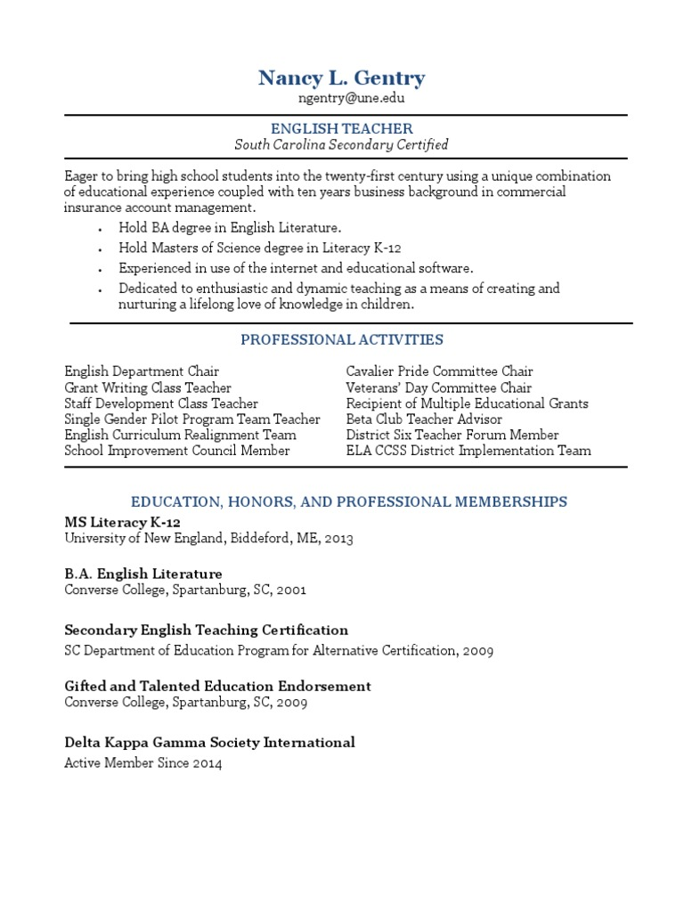 Une Resume 2014 Gifted Education Secondary School