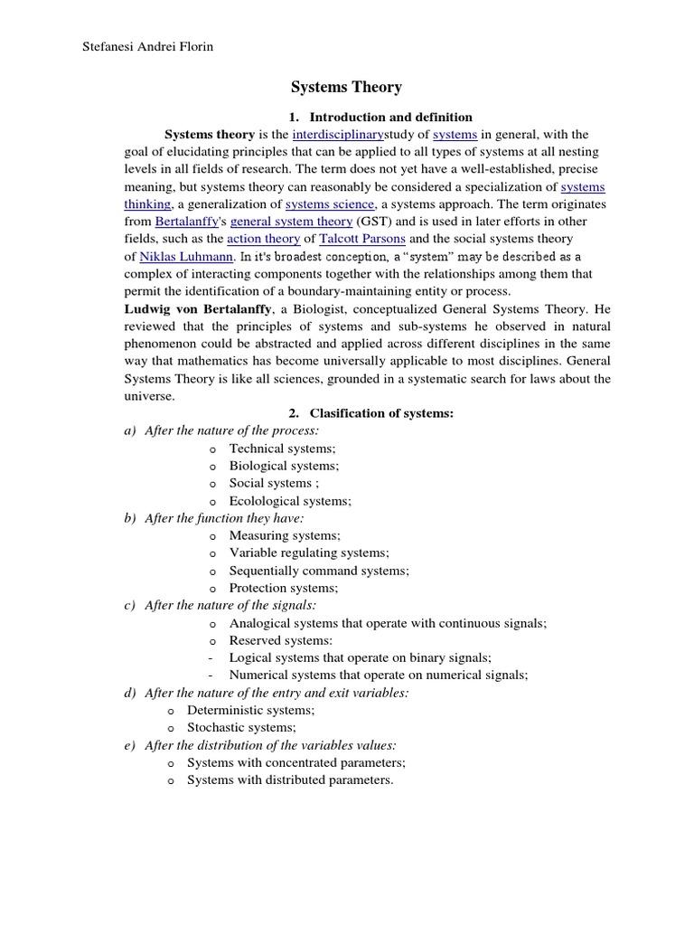 System Theory Essay