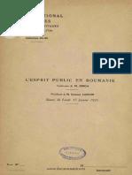 L'Esprit Public en Roumanie - Conference N. Iorga