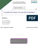 La Gestion Des Achats Et Nouvelles Technologies
