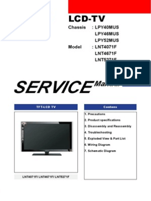 Samsung LNT4071F LNT4671F LNT5271F Parts and Service Manual ... on