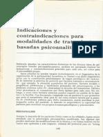 10. Indicaciones y Contraindicaciones Para Modalidades de Tratamiento Basadas Psicoanaliticamente. Otto Kernberg