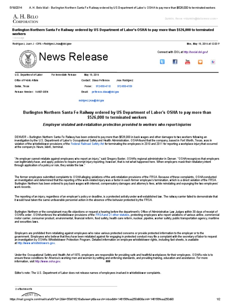 Burlington Northern Fined by OSHA | Occupational Safety And Health