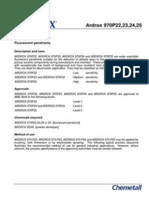 Ardrox 970p Series Fluorescent Penetrants | Industries