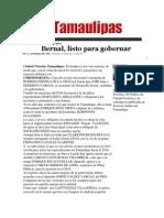 16-05-2014 Hoy Tamaulipas - Bernal, listo para gobernar.