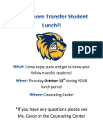 sophomore transfer student lunch