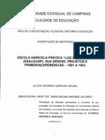 Escola Agrícola Prática 'Luiz de Queiroz' (ESALQUSP) – Sua Gênese, Projetos e Primeiras Experiências – 1881 a 1903