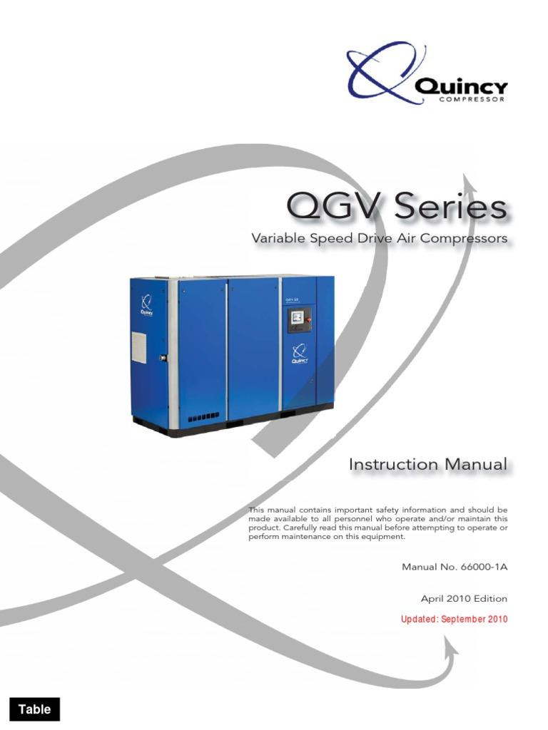 instruction manual quincy qgv 66000 1a el cafe gas compressor valve rh scribd com Kobelco Air Compressor Kobelco Gas Compressors