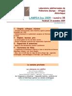 LAMPEA-Doc 2009 – numéro 38 / Vendredi 13 novembre 2009