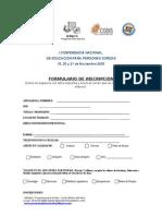 Ficha de inscripción I CONFERENCIA NACIONAL DE  EDUCACIÓN PARA PERSONAS SORDAS