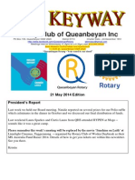 The Keyway - 21 May 2014 edition - weekly newsletter for the Rotary Club of Queanbeyan