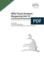 Analysis of Bargaining Unit 13 Tentative Agreement