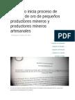 Ejecutivo Inicia Proceso de Compra de Oro de Pequeños Productores Mineros y Productores Mineros Artesanales