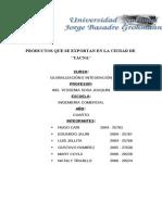 Productos Que Se Exportan en La Ciudad de Tacna