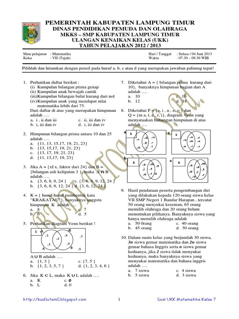 Soal Dan Pembahasan Ukk Matematika Smp Kelas 7 Tahun 2013