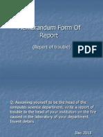 Memorandum Form of Report