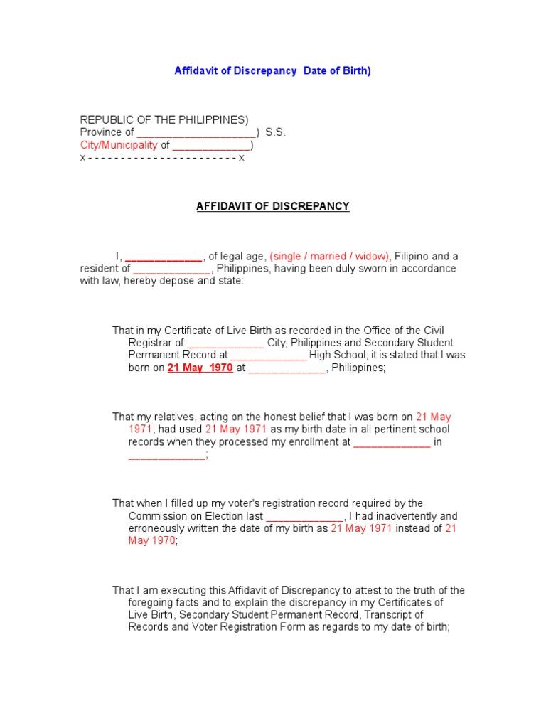 Affidavit of discrepancy date of birth yelopaper Images