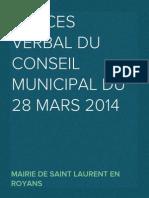 Procès Verbal CM du 28 mars 2014
