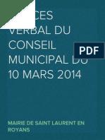 Procès Verbal CM du 10 mars 2014