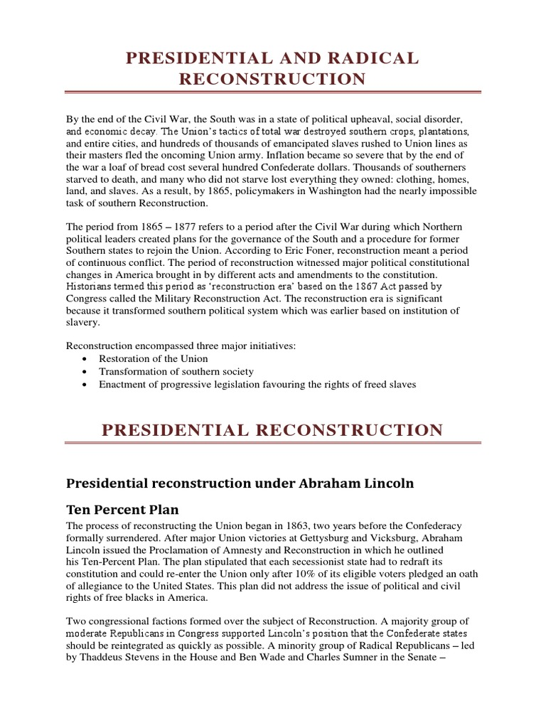 Presidential And Radical Reconstruction Reconstruction Era