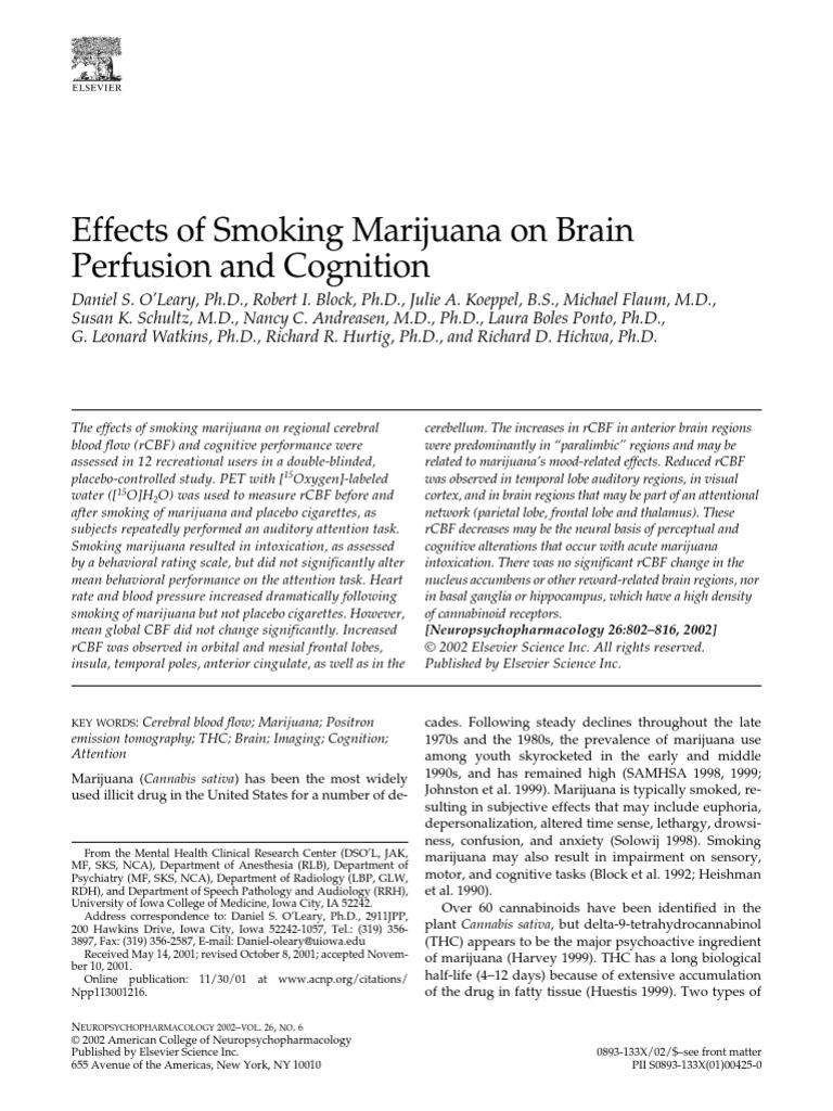 Effects Of Smoking Marijuana On Brain Perfusion And
