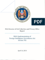 National Security Agency, Civil Liberties and Privacy Office Report NSA's implementation of Foreign Intelligence Surveillance Act Section 702.  April 16, 2014