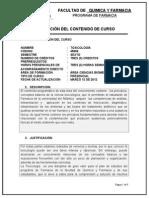 Carta Descriptiva Toxicologia