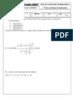 Reforço Matematica i - 7º Ano Lista 02
