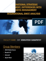 INTERNATIONAL STRATEGIC MANAGEMENT, DIFFERENCES WITH DOMESTIC MANAGEMENT INTERNATIONAL SWOT ANALYSIS