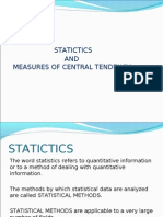 Statictics and Measures of Central Tendency